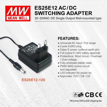 MEAN WELL ES25E12-120 AC/DC SWITCHING ADAPTOR