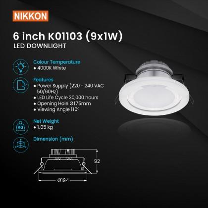 NIKKON LEDXion 9*1W Downlight 4000K [K01103]