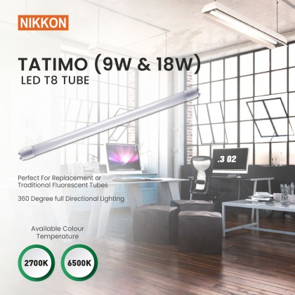 Bundle Deal : 9W/18W Nikkon LED T8 Tube - TATIMO Series (10 unit) + Massa Floodlight (1 unit) !!SELF PICKUP ONLY!!